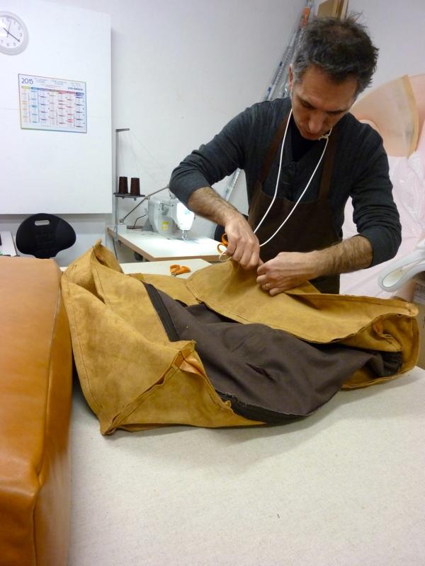 confection de housse de canapé Réfection d'un canapé en cuir   Au fil des Matières confection de housse de canapé